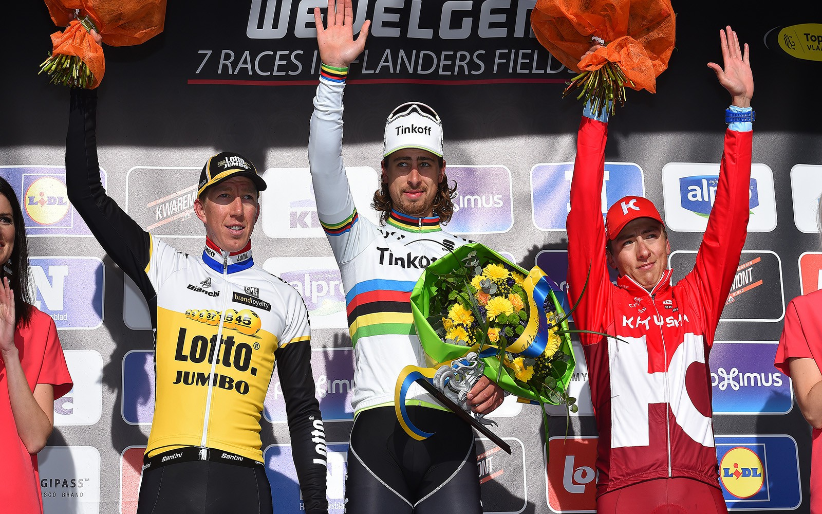 Cycling: 78th Gent - Wevelgem 2016 Podium / VANMARCKE Sep (BEL)/  SAGAN Peter (SVK)Celebration Joie Vreugde / KUZNETSOV Viacheslav (RUS)/ Gent (Deinze) - Wevelgem (242.8Km)/  Ghent Gand Flanders Classics /(c) Tim De Waele